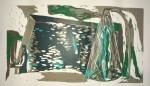 im schwimmbad, linolschnitt/verlorene platte