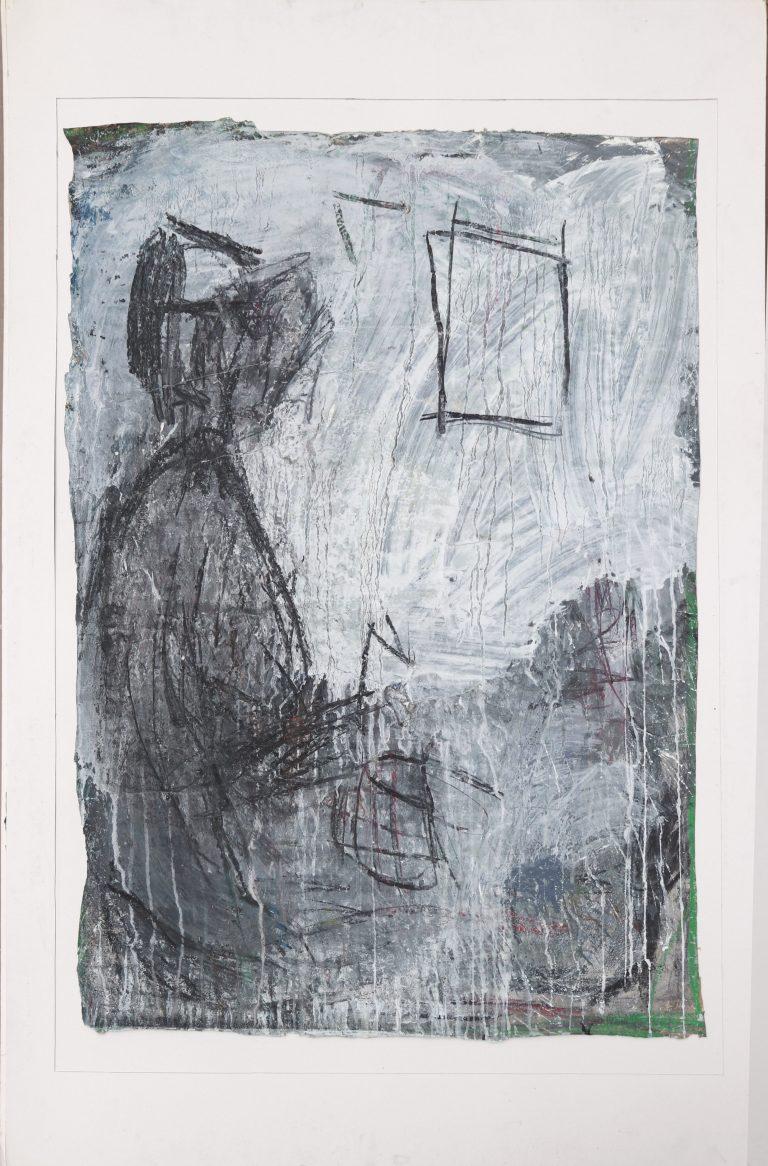 schön allein, Kohle/Tempera/Papier, Zeichnung, gegenständliche Malerei, Die Kiste nach 20 Jahren