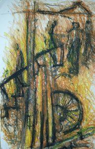 Ölkreidezeichnung, Titel: der Heimweg, gegenständliches Bild
