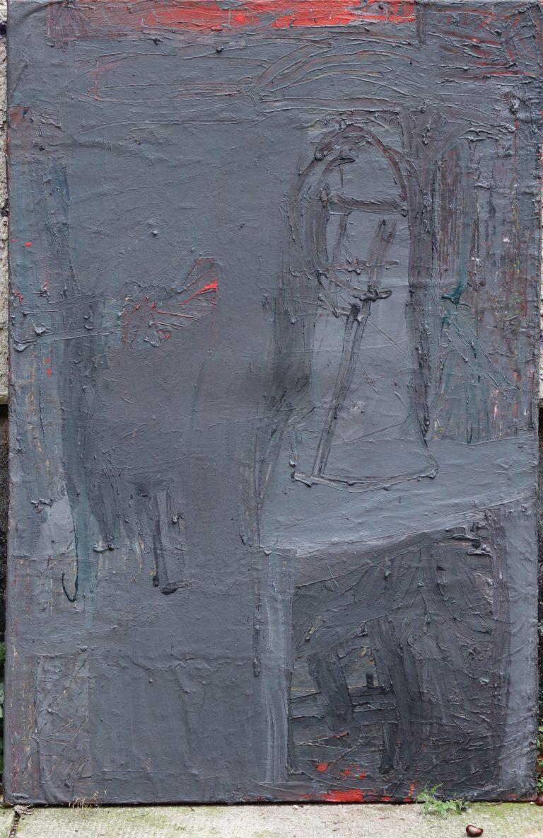 Büste-Drehbild->blume, Eitempera/Nessel, wahrscheinlich 120x90cm, gegenständliche Malerei, Die Kiste nach 20 Jahren