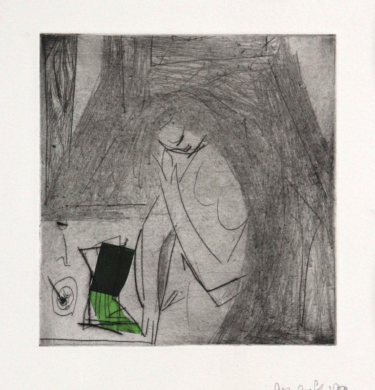 Lesen, Kaltnadelradierung/Chine Collé, gegenständliche Malerei, Die Kiste nach 20 Jahren