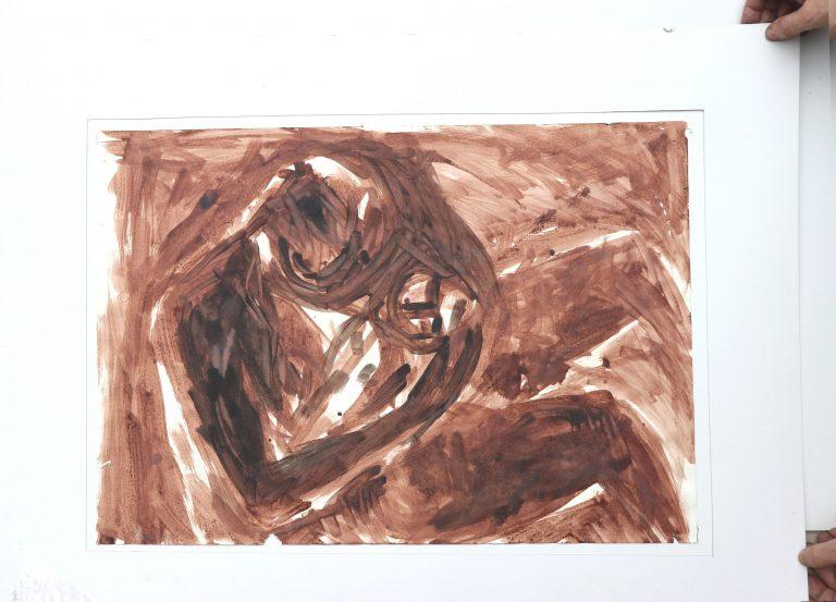 mutter-und-kind, Sepia Zeichnung, gegenständliche Malerei, Die Kiste nach 20 Jahren