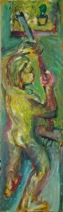putzfrau, quasi heroisch, Eitempera auf Spahnplatte, ca 162cm x 45 cm, januar 2021, neueste bilder, gegenständliche malerei
