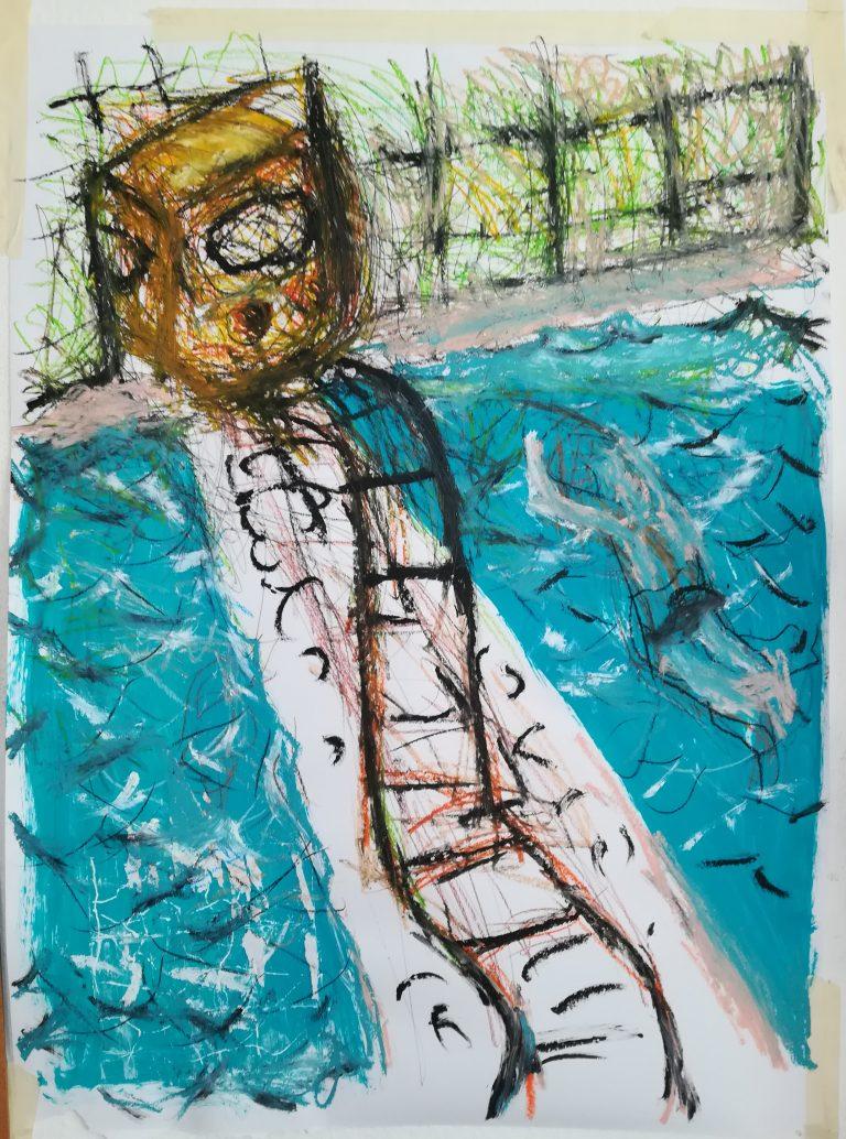 Mit der U-Bahn ins Schwimmbad, Acryl/Ölkreide/Papier, 70x90cm