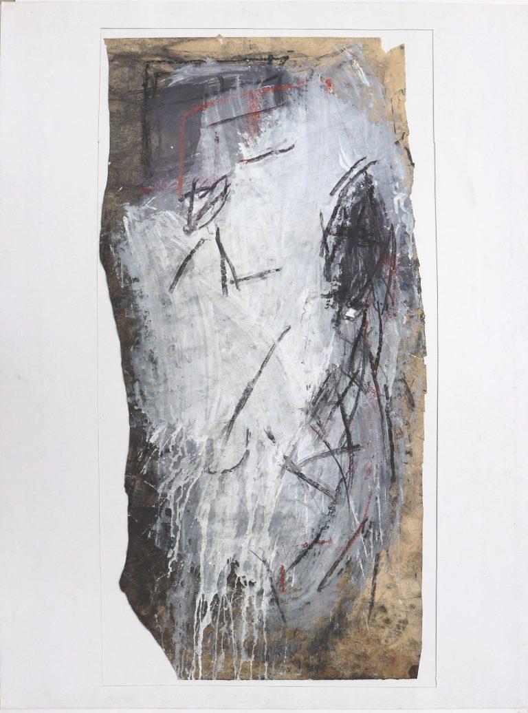 Vater und Sohn, Kohle/Tempera/Papier, ungefähr 1 m hoch, Zeichnung, gegenständliche Malerei, Die Kiste nach 20 Jahren