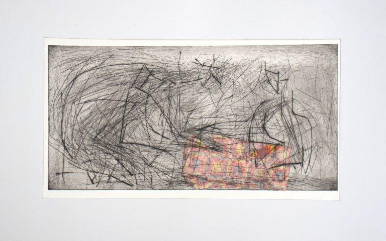 Vater und Sohn, Kaltnadel /Chine Collé,gegenständliche Malerei, Die Kiste nach 20 Jahren