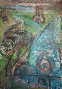 Es regnet, Ölkreide/Papier, 70x104 cm;Ölkreide-Bild, gegenständliche Malerei, november 2020, neueste bilder