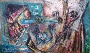 Schlacht bei A &O, Ölkreide/Acryl/Papier, 70x115cm, gegenständliche malerei, neueste bilder, november 2020