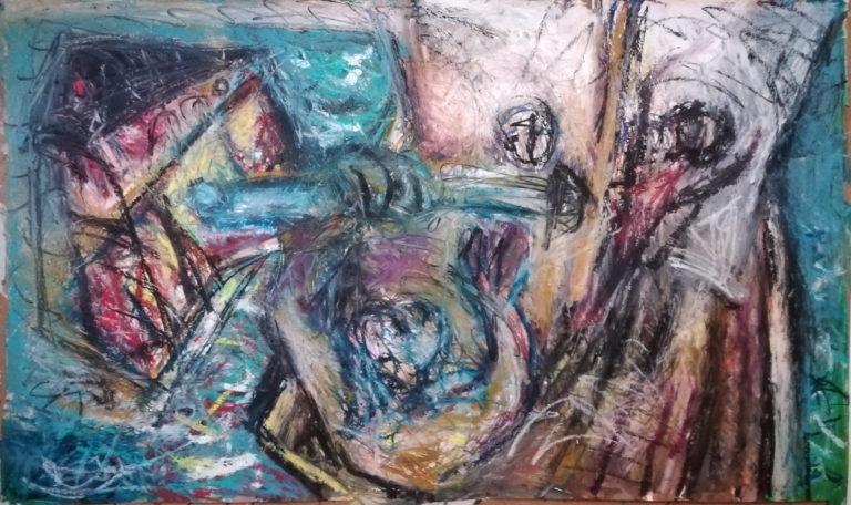 Schlacht bei A &O, Ölkreide/Acryl/Papier, 70x115cm