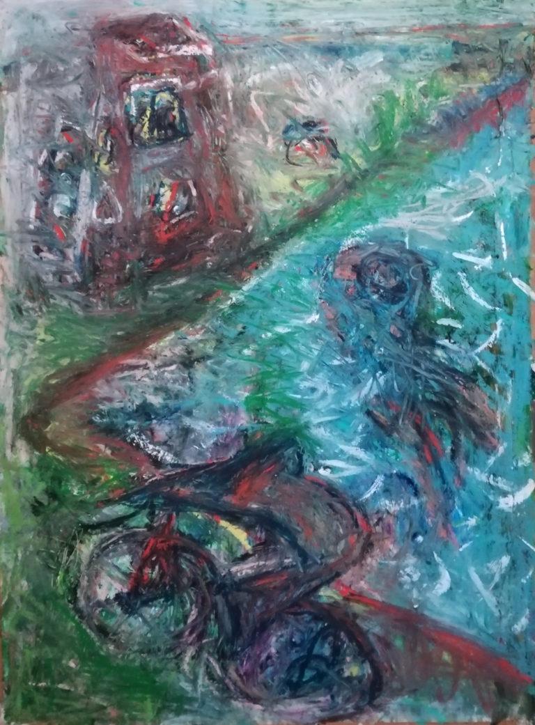 zum Meer, Ölkreide/Acryl/Papier, 77x118 cm