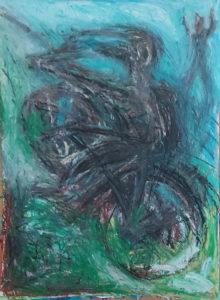 Fahradfahren/Schwimmen, Ölkreide/Kohle /Papier, 60x90cm, gegenständliche Malerei, dezember 2020, neuesete bilder